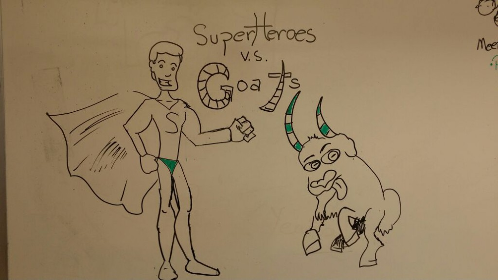 Superheroes V.S. Goats - First Idea