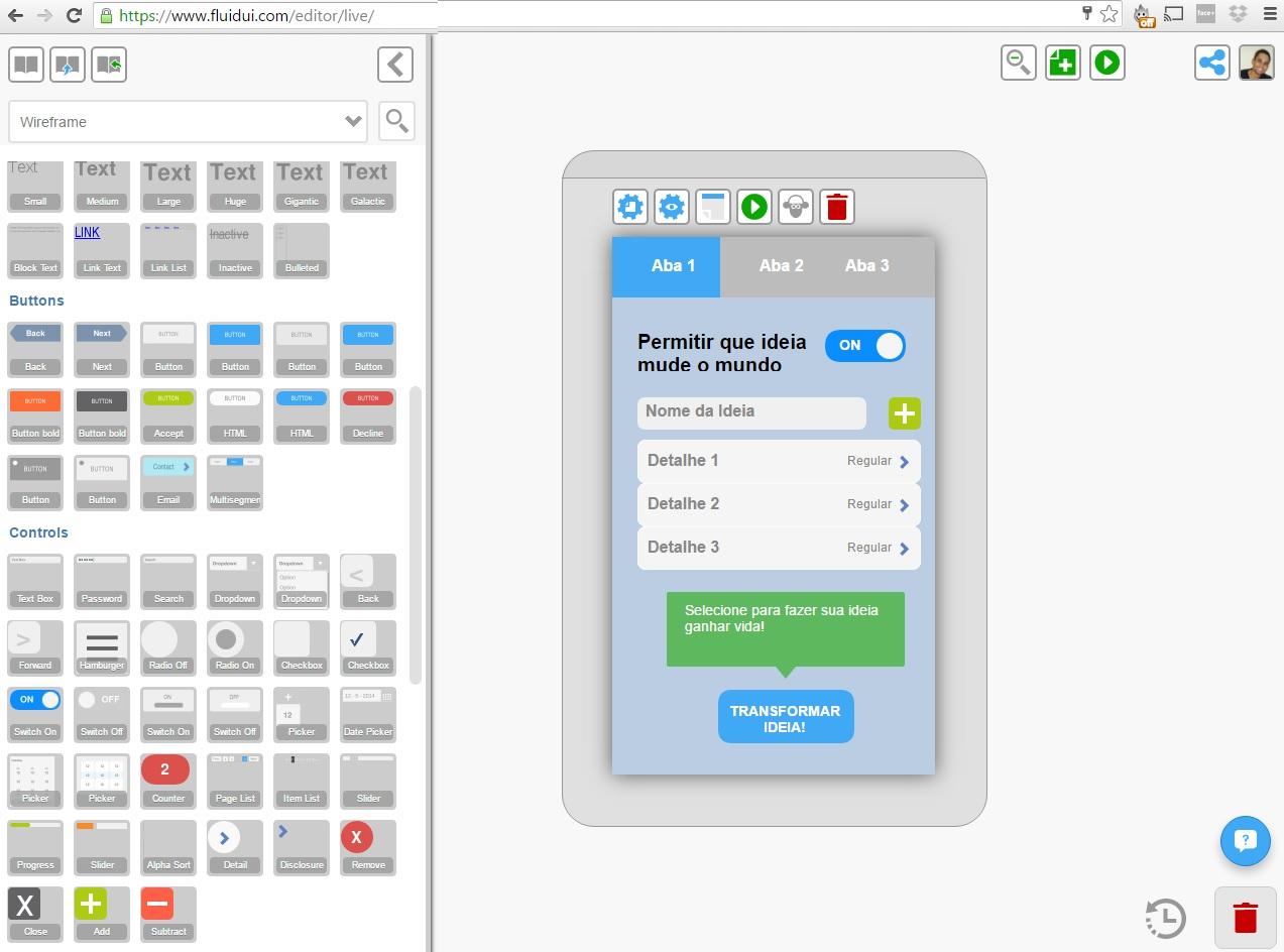 Tela do Fluid UI para prototipagem